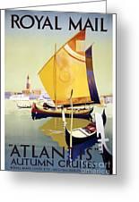 Royal Mail Atlantis Autumn Cruises Vintage Travel Poster Greeting Card