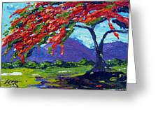 Royal Poinciana Palette Oil Painting Greeting Card