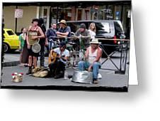 Royal Street Musicians Greeting Card by Linda Kish