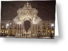 Rua Agusta Arch Lisbon Textured Greeting Card
