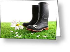 Rubber Boots With Daisy In Grass Greeting Card