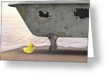 Rubber Ducky Bathtub Beach Surreal Greeting Card