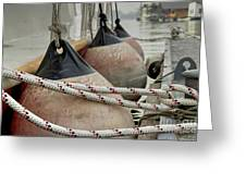 Rubber Fenders On The Side Of The Motor Yacht Greeting Card