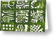 Rubbing Patterns Linocut Greeting Card