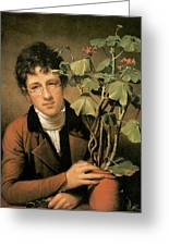 Rubens Peale With A Geranium Greeting Card by Rembrandt Peale