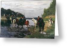 Rubicon. Crossing The River By Denis Davydov Squadron. 1812. Greeting Card