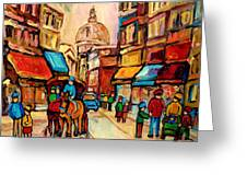 Rue St Jacques Old Montreal Streets  Greeting Card