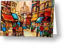 Rue St. Paul Old Montreal Streetscene Greeting Card by Carole Spandau
