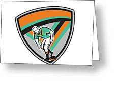 Rugby League Player Playing Ball Shield Retro Greeting Card