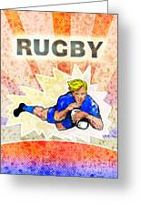 Rugby Player Diving To Score A Try Greeting Card by Aloysius Patrimonio