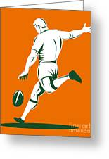 Rugby Player Kicking Greeting Card by Aloysius Patrimonio