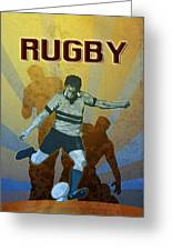 Rugby Player Kicking The Ball Greeting Card