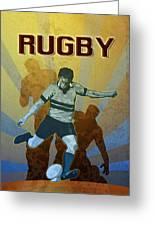 Rugby Player Kicking The Ball Greeting Card by Aloysius Patrimonio