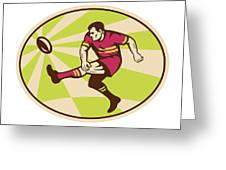 Rugby Player Kicking The Ball Retro Greeting Card