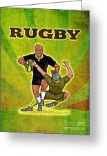 Rugby Player Running Attacking With Ball Greeting Card