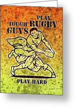 Rugby Player Running With Ball Attack By Shark Greeting Card