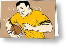Rugby Player Runningwith The Ball Greeting Card by Aloysius Patrimonio