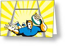 Rugby Player Scoring Try Retro Greeting Card
