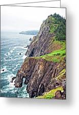 Rugged Oregon Coast On A Foggy Day Greeting Card