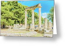 Ruin Of Philipp's Temple In Olympia, Greece Greeting Card