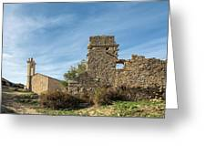 Ruined Building And Restored Church At Occi In Corsica Greeting Card