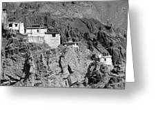 Ruins And Basgo Monastery Surrounded With Stones And Rocks Ladakh Greeting Card