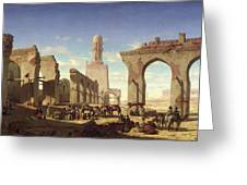Ruins Of The Mosque Of The Caliph El Haken In Cairo Greeting Card by Prosper Georges Antoine Marilhat
