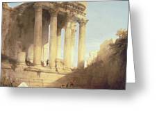 Ruins Of The Temple Of Bacchus Greeting Card by David Roberts