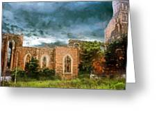 Ruins Under Stormy Clouds Greeting Card