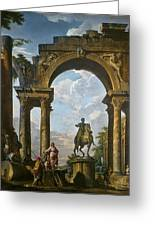 Ruins With The Statue Of Marcus Aurelius Giovanni Paolo Panini Greeting Card