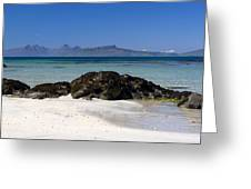 Rum And Eigg From Achateny Beach Greeting Card
