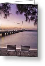 Rum Point Beach Chairs At Dusk Greeting Card