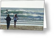 Run To The Surf Greeting Card