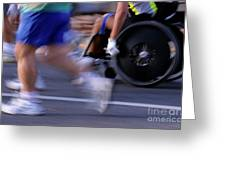 Runners And Disabled People In Wheelchairs Racing Together Greeting Card by Sami Sarkis