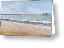 Runners On The Beach Panorama Greeting Card