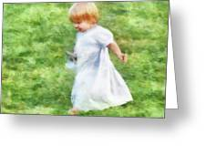 Running Barefoot In The Grass Greeting Card