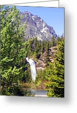 Running Eagle Falls Glacier National Park Greeting Card