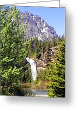 Running Eagle Falls Glacier National Park Greeting Card