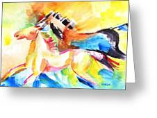 Running Horses Color Greeting Card