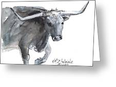 Running Texas Longhorn Watercolor Painting By Kmcelwaine Greeting Card