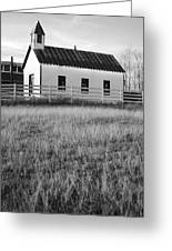 Rural Church Black And White Greeting Card