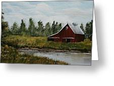 Rural Farm And Pond Greeting Card