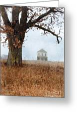 Rural Farmhouse And Large Tree Greeting Card