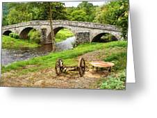 Rural France With Old Stone Arched Bridge Greeting Card