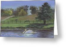 Rural Landscape Painting Of Bauer Farm Greeting Card