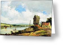 Rural Landscape With River Greeting Card