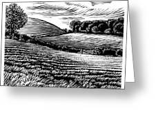 Rural Landscape, Woodcut Greeting Card by Gary Hincks