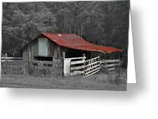 Rural Red - Red Roof Barn Rustic Country Rural Greeting Card