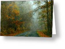 Rural Road In North Carolina With Autumn Colors Greeting Card