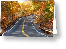 Rural Road Running Along The Maple Trees In Autumn 2 Greeting Card